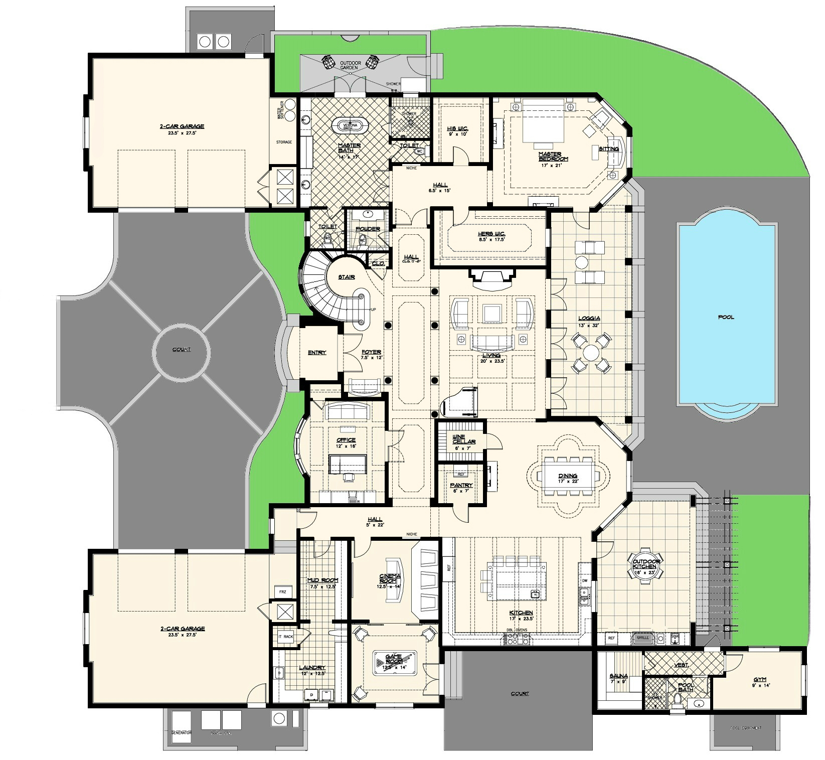 Luxury villas floor plans for Floor plans architecture